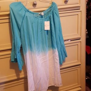 Ladies Ombree design shirt Turquoise colort